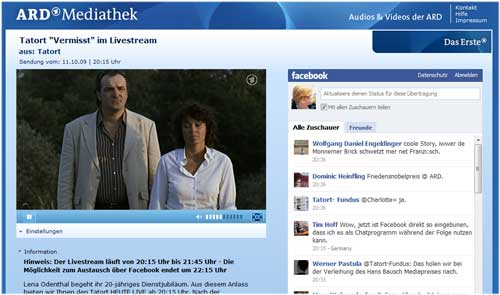Tatort Stream mit Facebook-Feed am 10.10.09